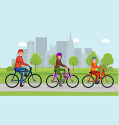 active family in the park vector image
