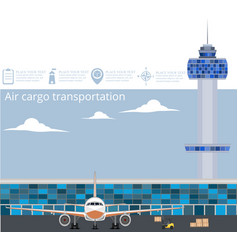 Aviation poster set with airplane in airport vector