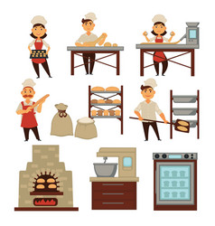 Bakery bakers and bread baking industry and vector
