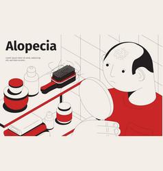 Baldness alopecia isometric background vector
