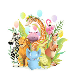 Birthday animals party greeting card for kid event vector