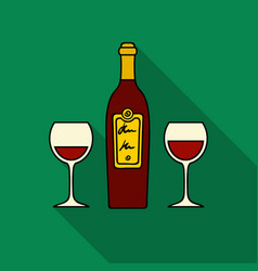 bottle of red wine with glasses icon in flat style vector image