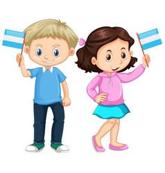 Boy and girl holding nicaragua flag vector