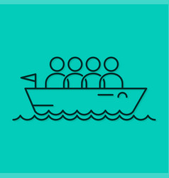 business team icon line boat concept background vector image