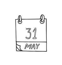 Calendar hand drawn in doodle style may 31 world vector