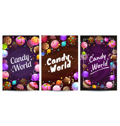 candy world posters set sweets background vector image