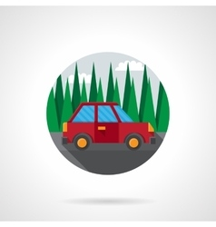 Car test drive flat color design icon vector image