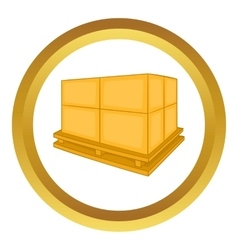 Cardboard boxes on wooden palette icon vector image