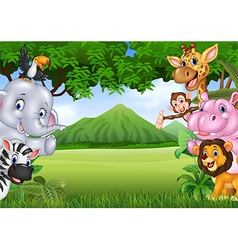 Cartoon wild animals with nature landscape vector