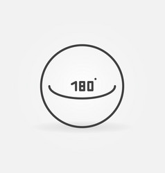 Circle with 180 degrees concept icon in vector