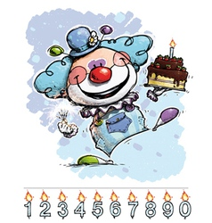 Clown Carrying a Boys Birthday Cake vector image