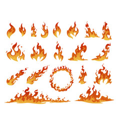 Collection red and orange cartoon fire flame vector