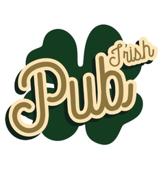 Color vintage irish pub emblem vector