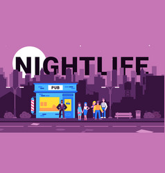 Colourful nightlife in city vector