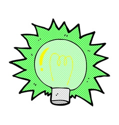Comic cartoon flashing green light bulb vector
