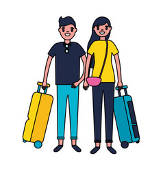 Couple tourists with bag travel vacations vector