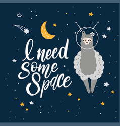 cute cartoon print with llama in space hand vector image