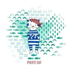 Cute cat pirate vector