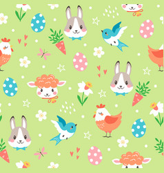 cute spring pattern with easter cartoon vector image