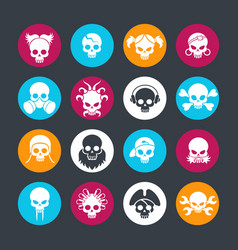 Decorative skulls on colors rounds vector