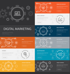 digital marketing infographic 10 line icons vector image