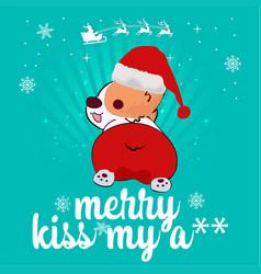 dog santa kiss my a vector image