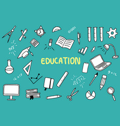 education doodle with color and educations object vector image