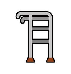 Elderly walker isolated icon vector