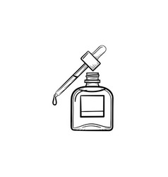 Essential oil and pipette hand drawn sketch icon vector