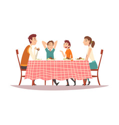 family sitting at kitchen table with red checkered vector image