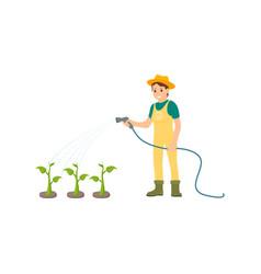 Farmer watering plants icon vector