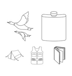 flask gilet with cartridges flying ducks tent vector image