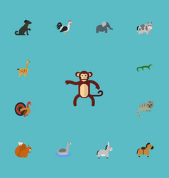 flat icons chipmunk chimpanzee rooster and other vector image