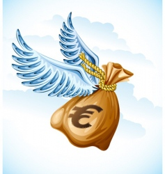 Flying sack of euro money vector