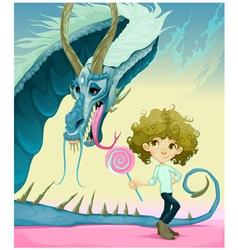 Friendship between boy and dragon vector