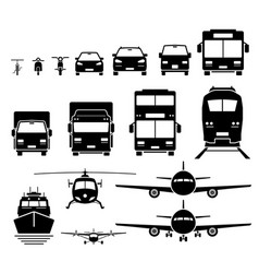 Front view ground air and water transportation vector