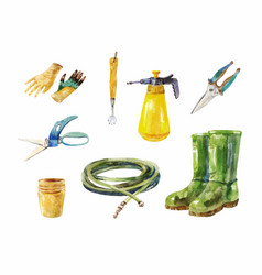 Gardening scissors hose rubber boots sprayer vector