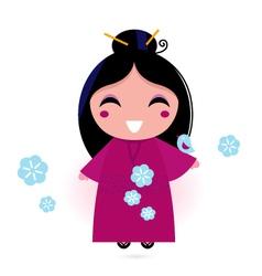 geisha woman in kimono vector image