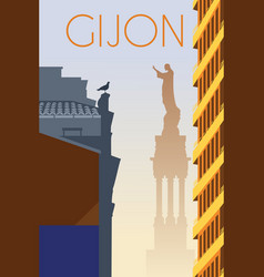 Gijon city asturias spain retro poster vector