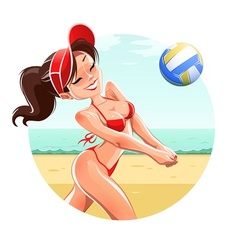 Girl play volleyball on beach vector image