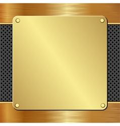 Golden plaque on black textured panel vector