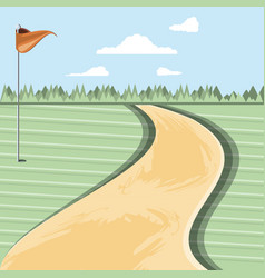 golf curse with way scene vector image