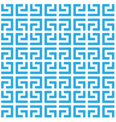 greek key seamless pattern background in blue and vector image