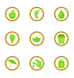 Green world icons set cartoon style vector