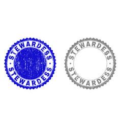 Grunge stewardess scratched watermarks vector