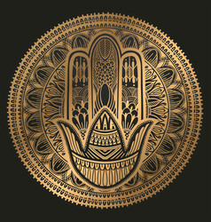 Hamsa talisman religion asian gold gradient color vector