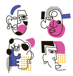 hand drawing men face in abstract contemporary vector image
