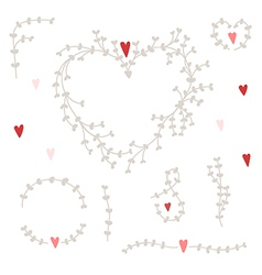 hand drawn set with wreaths and red hearts vector image