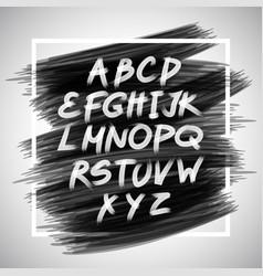 handwritten brush white letters isolated on black vector image