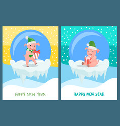 happy new year pig wearing santa claus hat set vector image